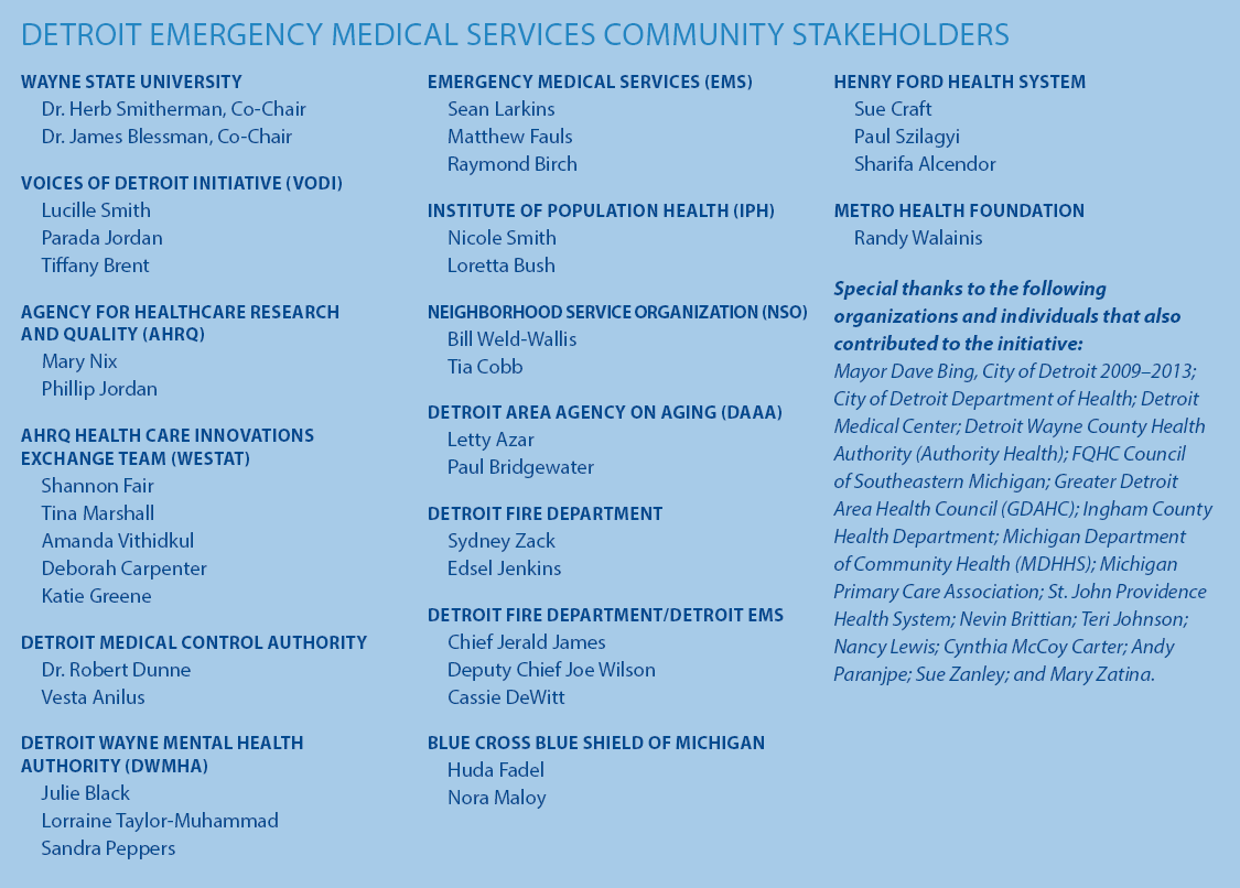 DETROIT EMERGENCY MEDICAL SERVICES COMMUNITY STAKEHOLDERS